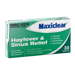 Maxiclear Hayfever Sinus Relief 30 Tabs [PM]