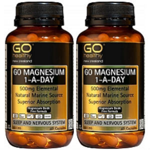 GO Magnesium 500mg 1-A-Day 60 Capsules x2 Bottles